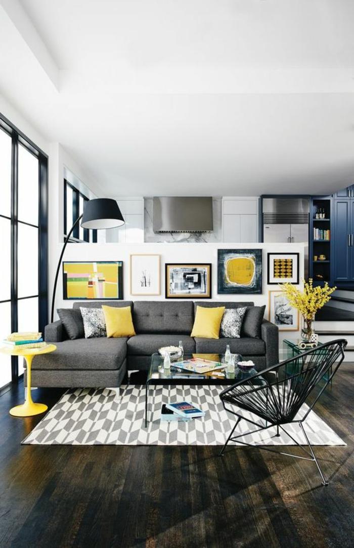 1001 variantes de salon gris et jaune pour vous inspirer  lessayer