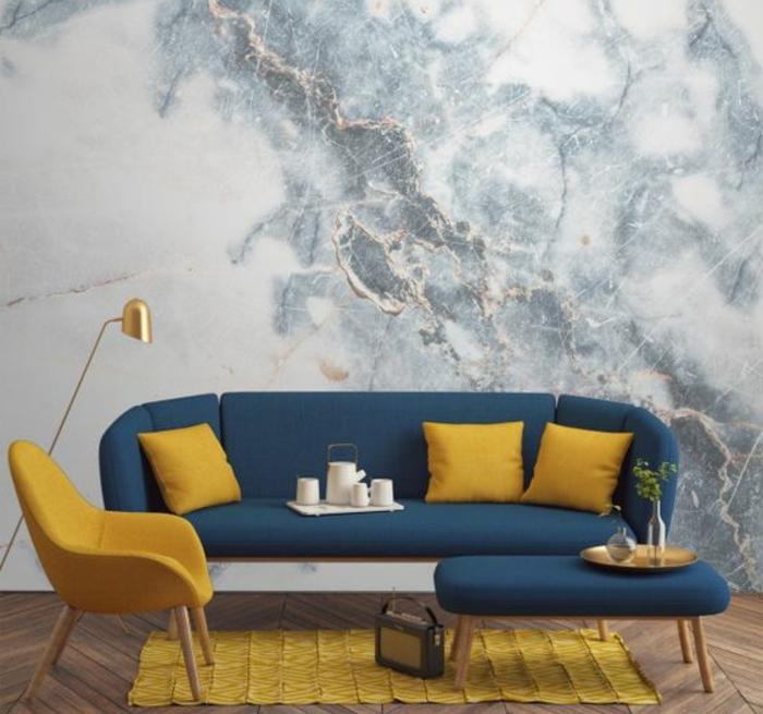 Salon Bleu Canard Et Jaune