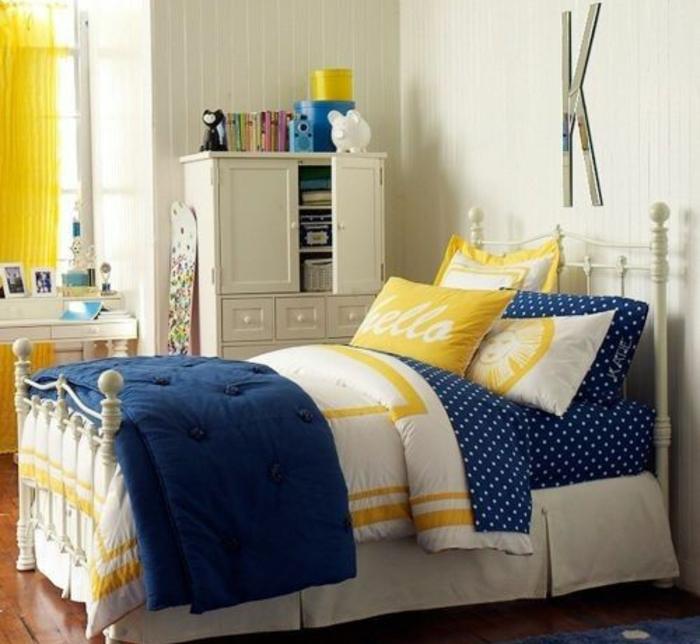 Deco Bleu Et Jaune Linge De Lit Lit Mtal Blanc Mur Couleur