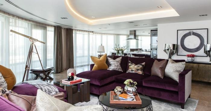 kitschy living room brown furniture decorating ideas 1001 + idées comment combiner la couleur aubergine