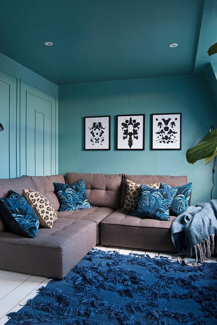 Chambre Bleu Turquoise Et Taupe Agrandir Un Mur Bleu