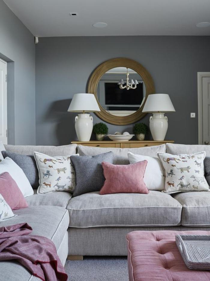 salon rose et gris