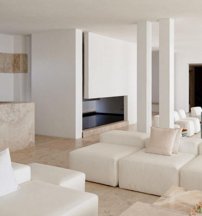 salon blanc et beige