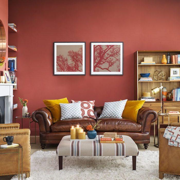 Peinture rouge framboise free peinture rouge framboise with peinture rouge framboise gallery - Salon mur rouge et gris ...