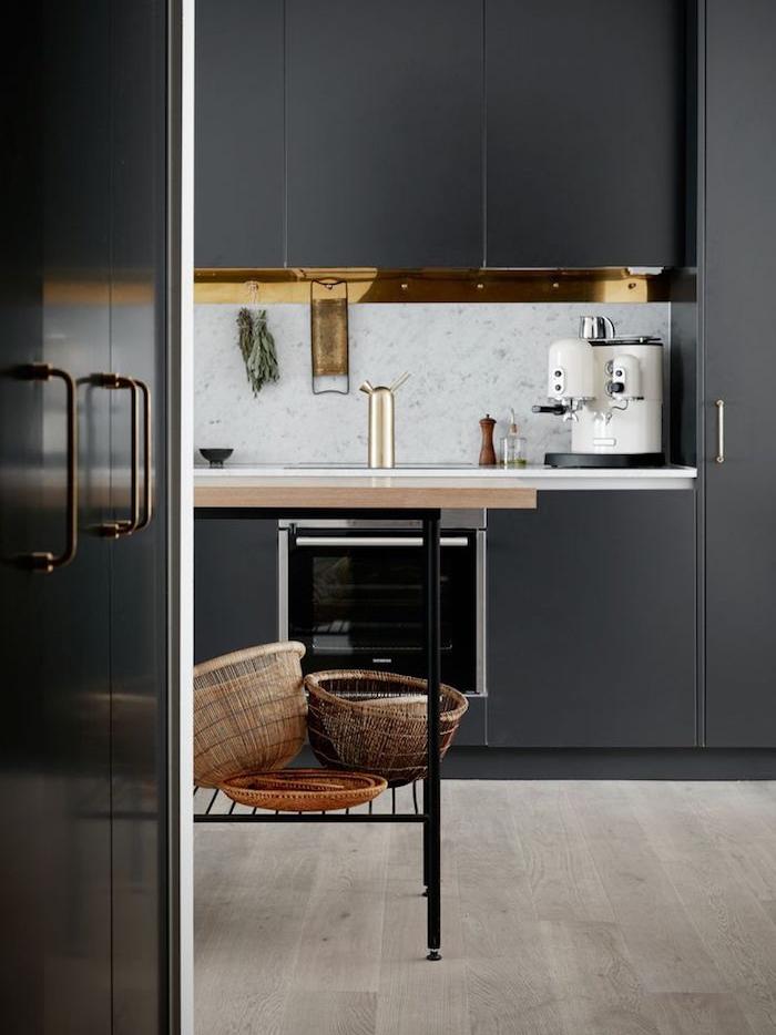1001 Ides Cuisine Noir Mat Et Bois Lgance Et Sobrit