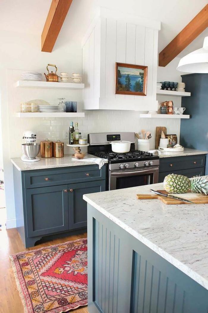 navy blue kitchen rugs mid century modern design 1001+ idées pour une cuisine bleu canard + les intérieurs ...