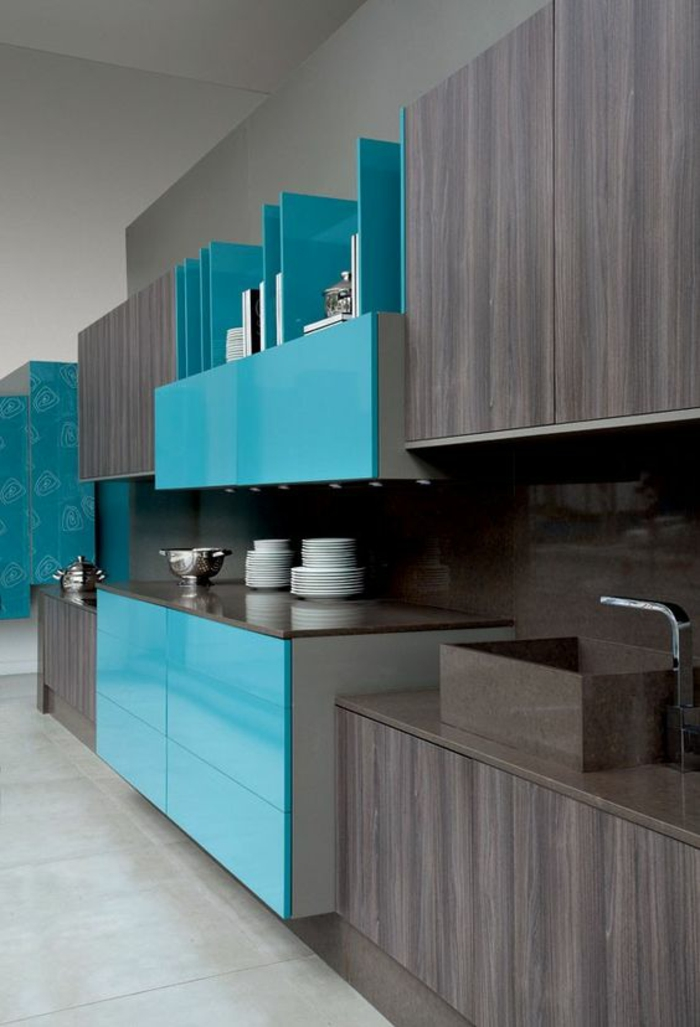 Cuisine Bleu Turquoise Et Gris - Décoration de maison idées de ...