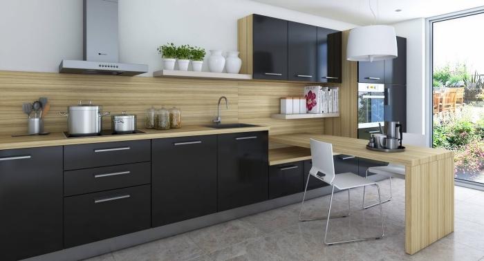 cuisine noire et bois