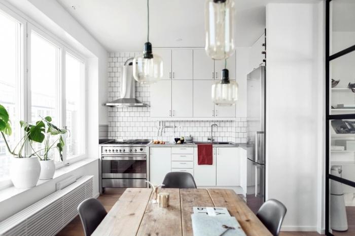 table de cuisine ronde en verre
