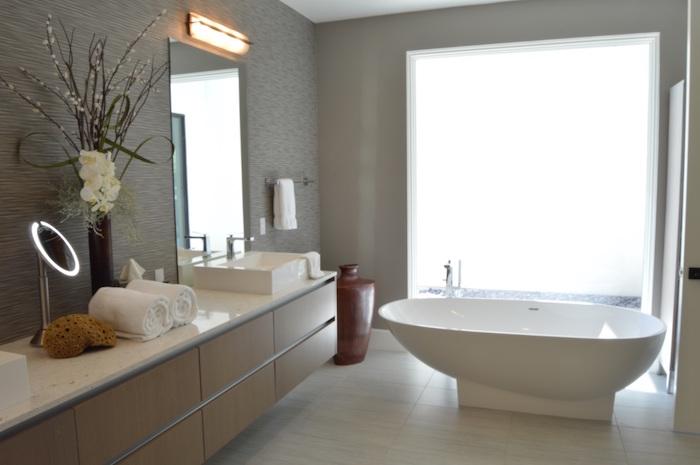 salle de bain beige et gris