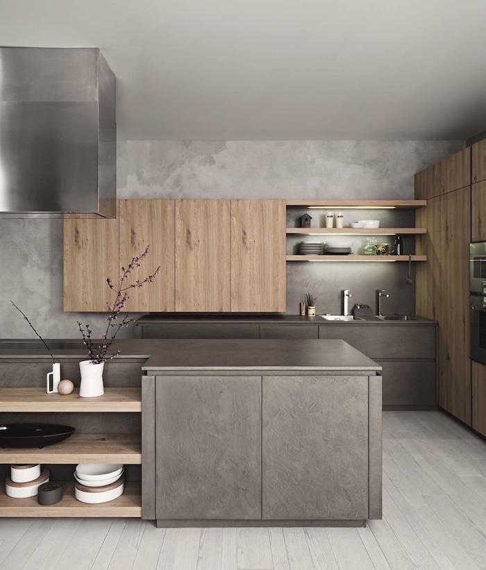 1001 idees cuisine grise et bois