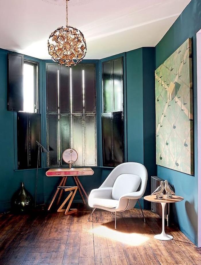 salon bleu canard paon