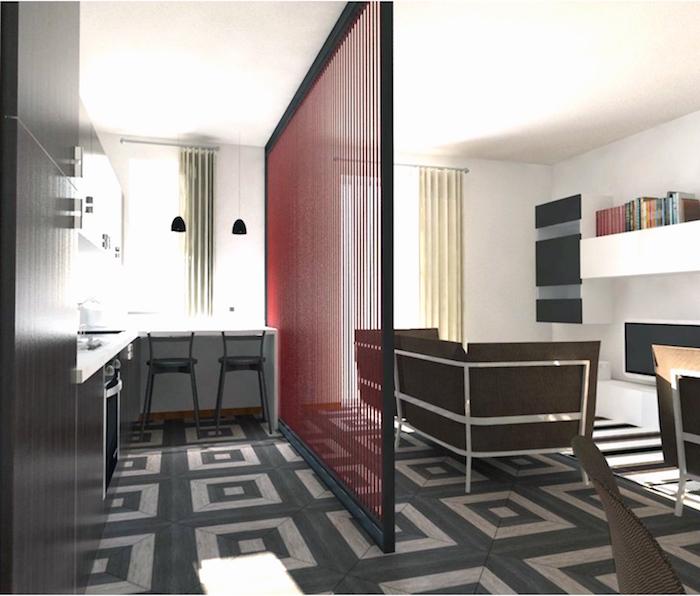 meuble de cuisine en bois rouge