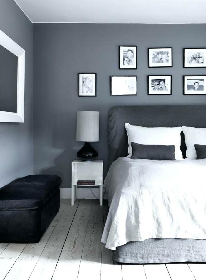 chambre blanche et grise