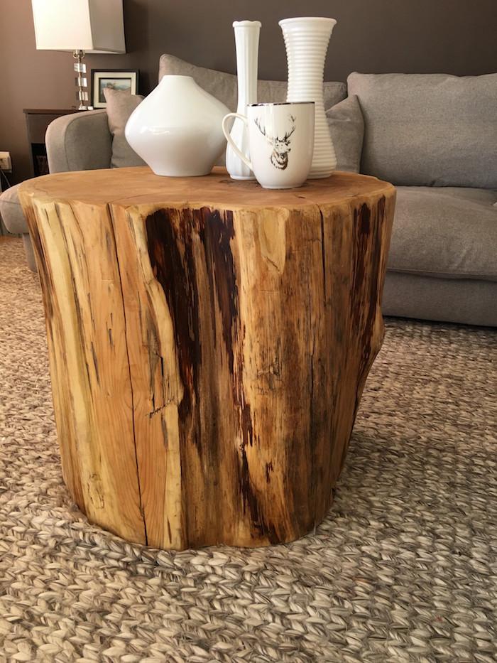 1001  ides  Table basse en tronc darbre  le meuble diy qui cache la fort