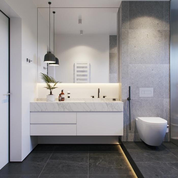 salle de bain en gris et blanc