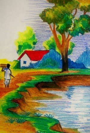 nature scenery drawing easy drawings landscape paysage dessin facile class colour crayon painting paintings magnifique getdrawings modular reproduire personal pastel