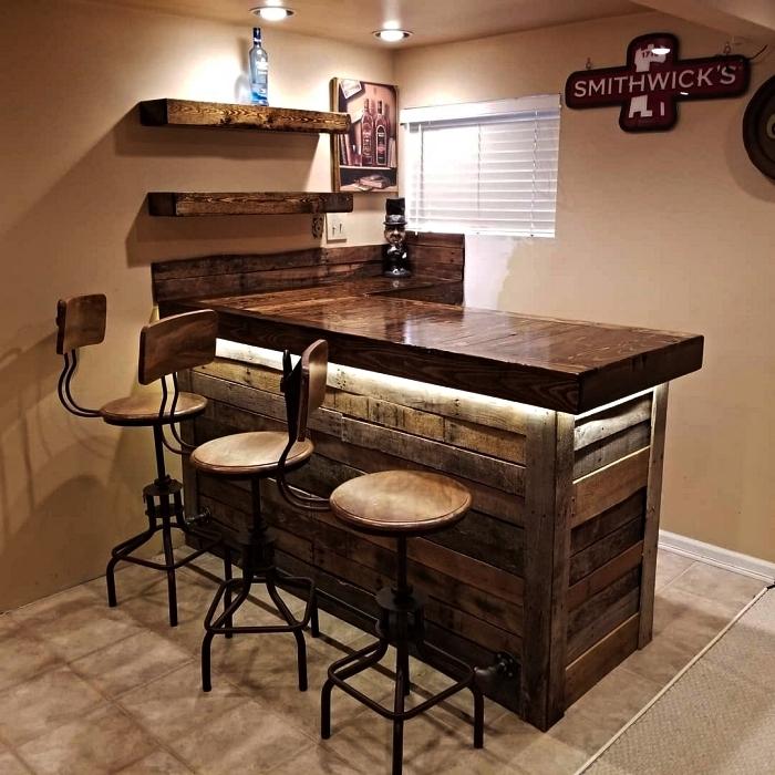 idees pour fabriquer un bar en palette