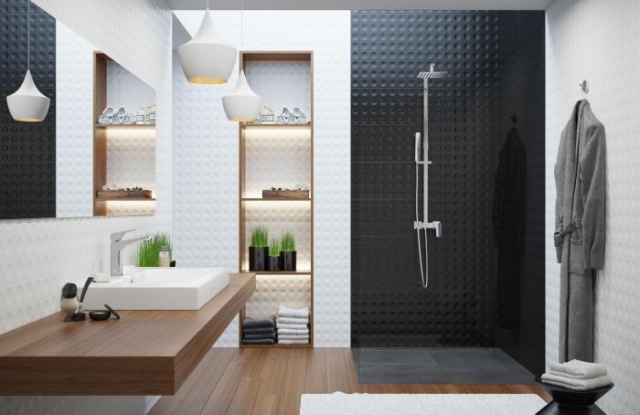 exemples de la salle de bain en noir et