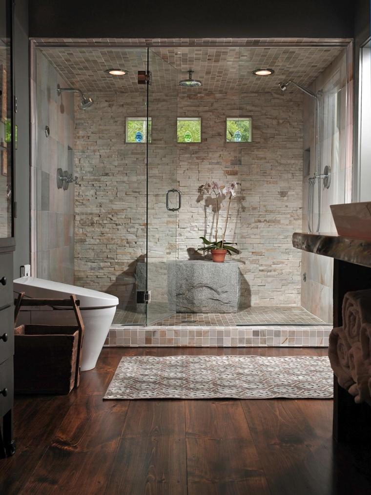 Idee bagno moderno con inserti in legno e pietra  Archzineit