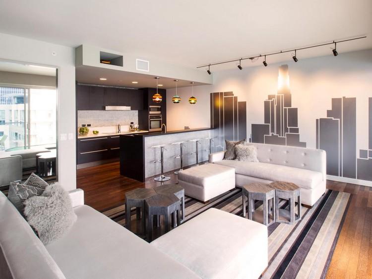 Open space  cucina e salotto con design moderno 2 in 1