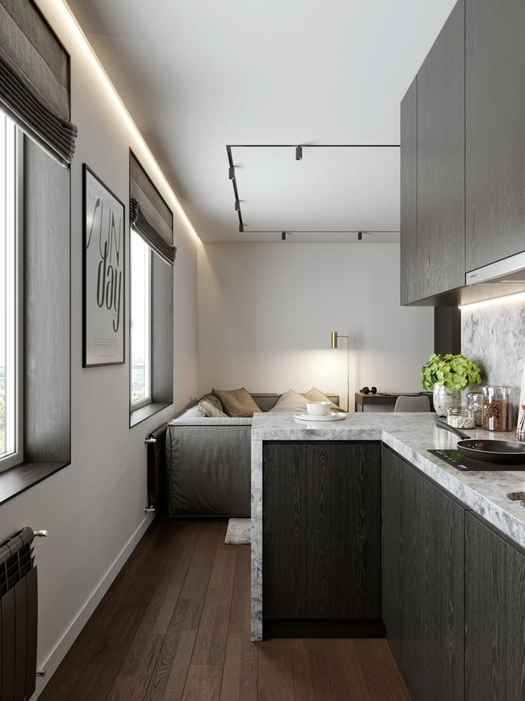 cucina soggiorno 50 mq chicago 2021.monolocali e bilocali di 30 mq 40 mq 50 mq con soggiorno piccolo cucina a vista living open space. 1001 Idee Per Come Arredare Un Monolocale Piccolo