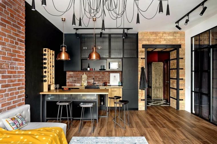 Per ottenere un elegante ambiente unico con il soggiorno. 1001 Idee Per Cucina Stile Industriale Loft Moderno