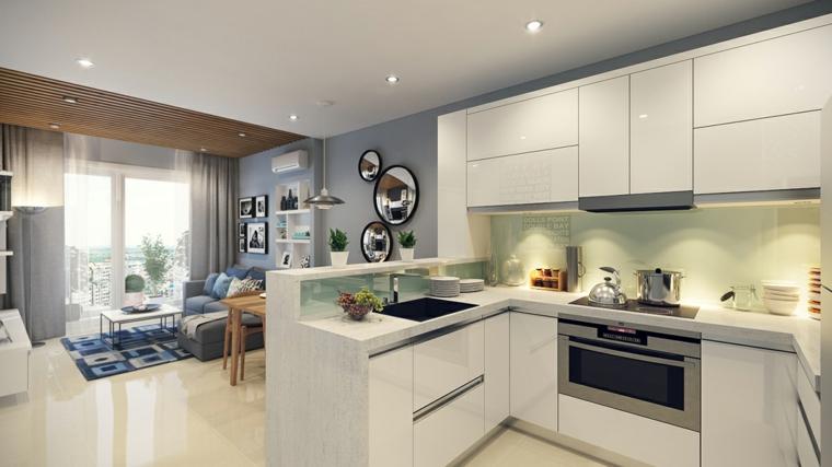 Soggiorno Cucina Open Space Moderno Elegant Cucina Con