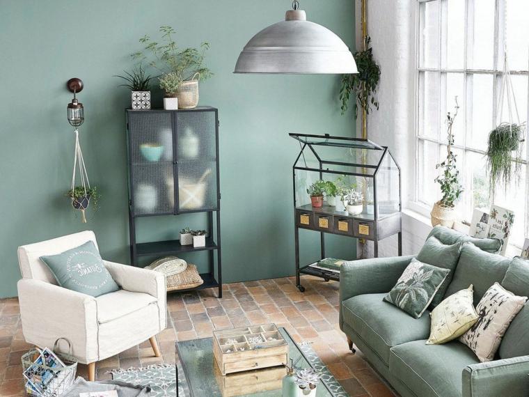 Colore parete verde acqua soggiorno con divano bianco. 1001 Idee Per Verde Salvia E Abbinamento Colori