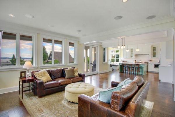 Wohnzimmer einrichten modernes Designer Sofa aus Leder  Archzinenet