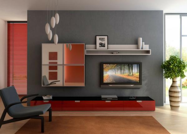 wohnzimmer streichen inspirierende ideen archzine net wohnideen ... - Wandgestaltung Wohnzimmer Grau Rot