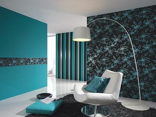 GroBartig Wandfarben Wohnzimmer Ideen Wandgestaltung Turkis Wandfarbe Boisholz,  Wohnzimmer