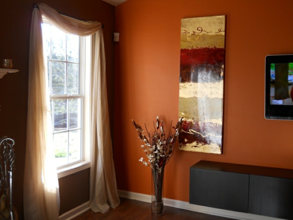 Braun Orange Wandfarbe Startseite Design Bilder