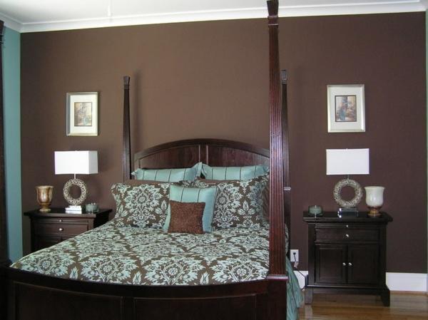 Braune Wandfarbe fr eine gemtliches Ambiente im Zimmer  Archzinenet