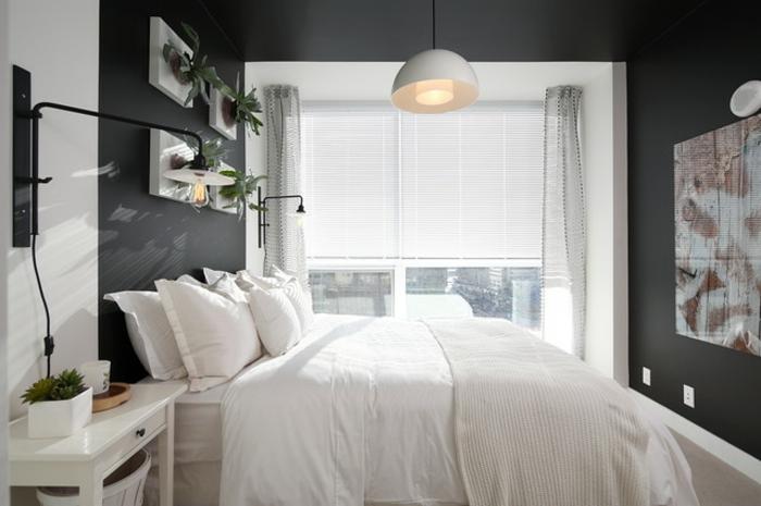 Schlafzimmer ideen wandgestaltung grau  Gardinen Schlafzimmer Gestalten Kleines Schlafzimmer Gestalten ...