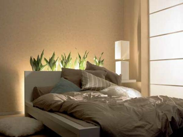 wandfarbe schlafzimmer taupe dekopflanzen - boisholz - Wandfarbe Im Schlafzimmer