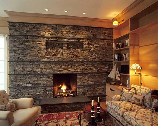 Natursteinwand im Wohnzimmer  im Landhausstil gestalten  Archzinenet