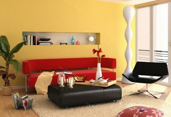 wohnzimmer gestalten mit roter couch - boisholz - Wohnzimmer Gestalten Gelb