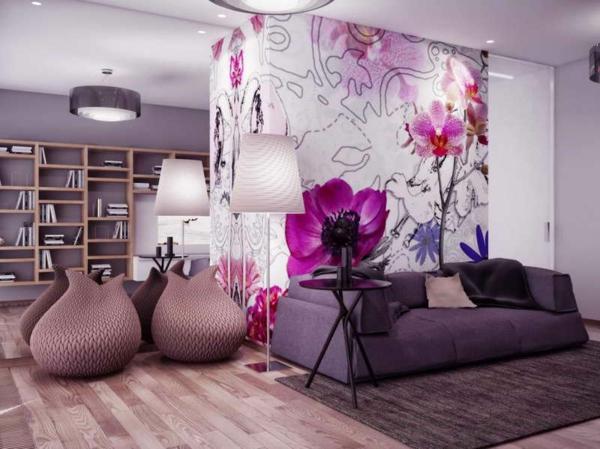 wandgestaltung wohnzimmer farbe violett - boisholz,