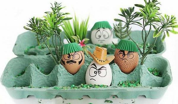 Lustig bemalte Eier