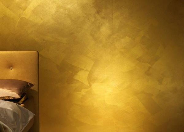 Einrichten mit Farben Goldene Wandfarbe und Mbel fr