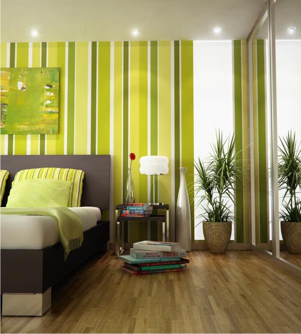 Streifen An Der Wand Grun Schlafzimmer - Boisholz
