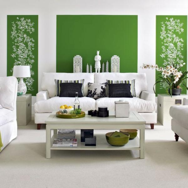 wohnzimmer ideen wandgestaltung grun | ifmore