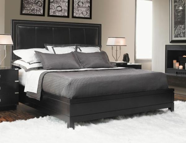 Farbe Schlafzimmer Schwarzes Bett | Blå/grå/lilla Væg Maling ...