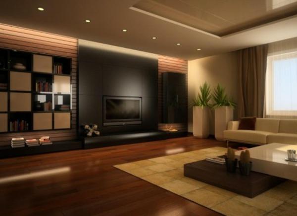 Tapeten Wohnzimmer Beispiele Braun Modernes Wohnzimmer Mit Braunen, Modern  Dekoo
