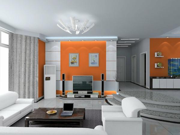 wohnzimmer grau orange ~ inspirierende bilder von wohnzimmer