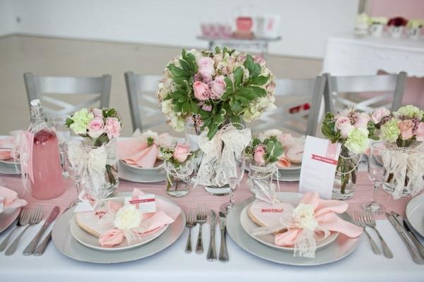 Tischdeko Hochzeit Grau Weiss