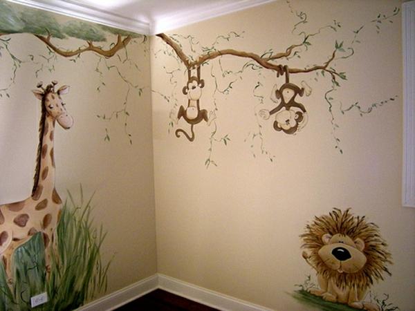 Babyzimmer Gestalten Wandgestaltung Kinderzimmer Dschungel