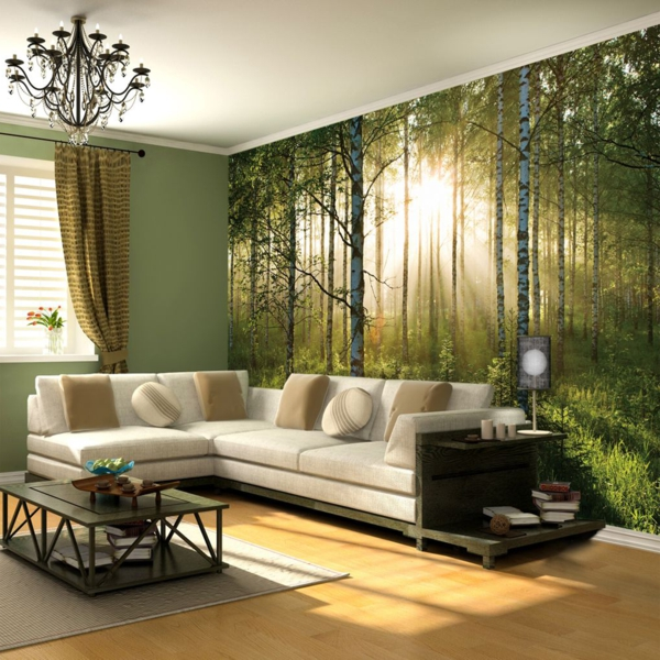 wohnzimmer beige grun haus design ideen