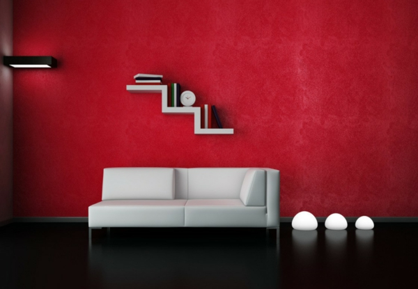 Rote Wand  50 Ideen mit Wandfarbe Rot   Archzinenet